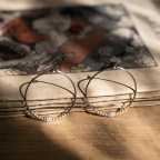 Pure titanium hoop earrings with silver beads - for sensitive ears
