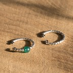 Earring stackable hoops for conch - Non pierced earrings - Titanium, bright silver and gemstone beads