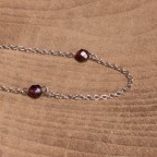 Dainty steel necklace with garnet beads