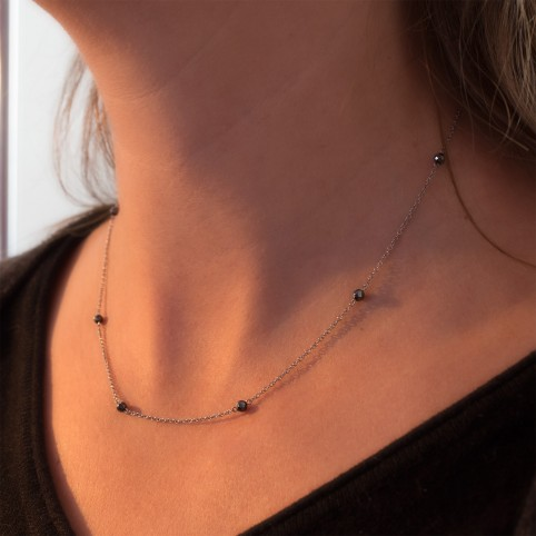 Dainty steel necklace with hematite beads