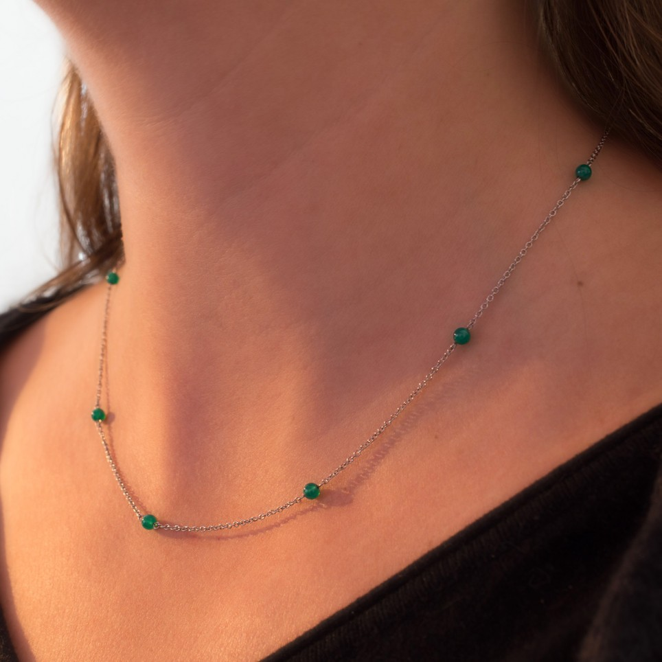 Dainty steel necklace with green agate beads