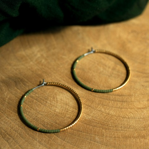 Hypoallergenic Pure titanium hoop earrings with khaki green and gold glass beads