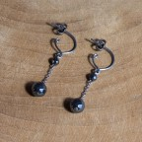 Pure titanium and hematite drop earrings - hypoallergenic earrings for sensitive ears, nickel free