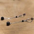 Boucles d'oreilles pendantes titane pur et perles d'onyx - Boucles d'oreilles hypoallergéniques