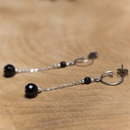 Pure titanium drop earrings with black onyx beads - hypoallergenic earrings for sensitive ears, nickel free