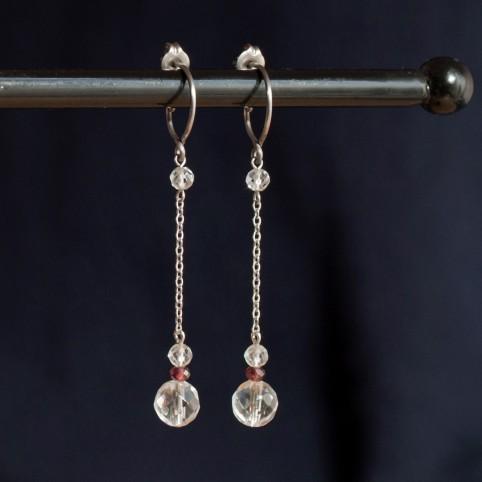 Boucles d'oreilles en titane pur et cristal de roche - hypoallergéniques