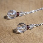 Pure titanium drop earrings with rock crystal beads - for sensitive ears