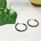 Titanium hypoallergenic hoop earrings with small hematite beads
