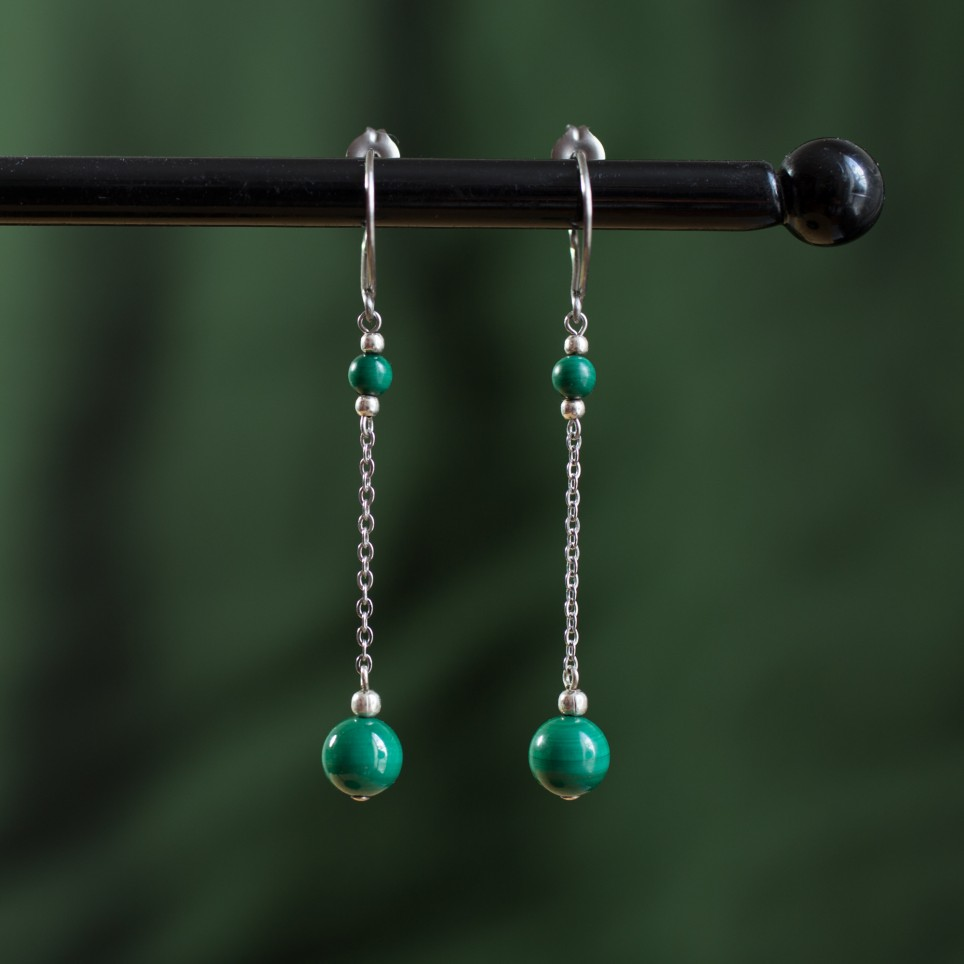 Pure titanium drop earrings with green malachite beads - hypoallergenic earrings for sensitive ears, nickel free