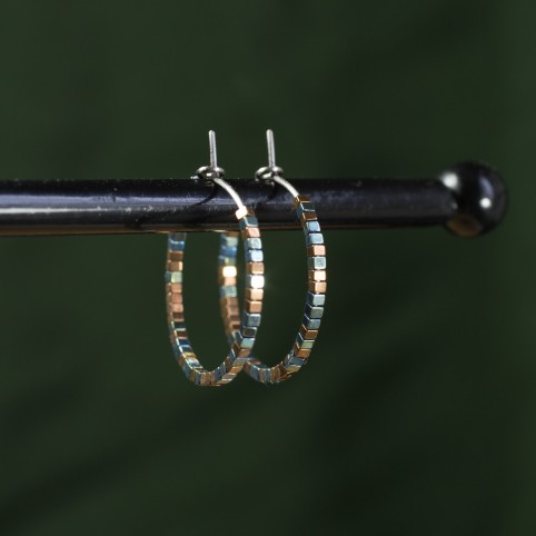Pure titanium hoop earrings with tiny green and copper hematite beads - Spark