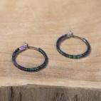 Pure titanium hoop earrings with tiny rainbow hematite beads - Spark