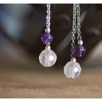 Pure titanium drop earrings with améthyst and pink quartz beads - for sensitive ears