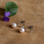 Pure titanium small drop earrings with pink freshwater pearls - for sensitive ears
