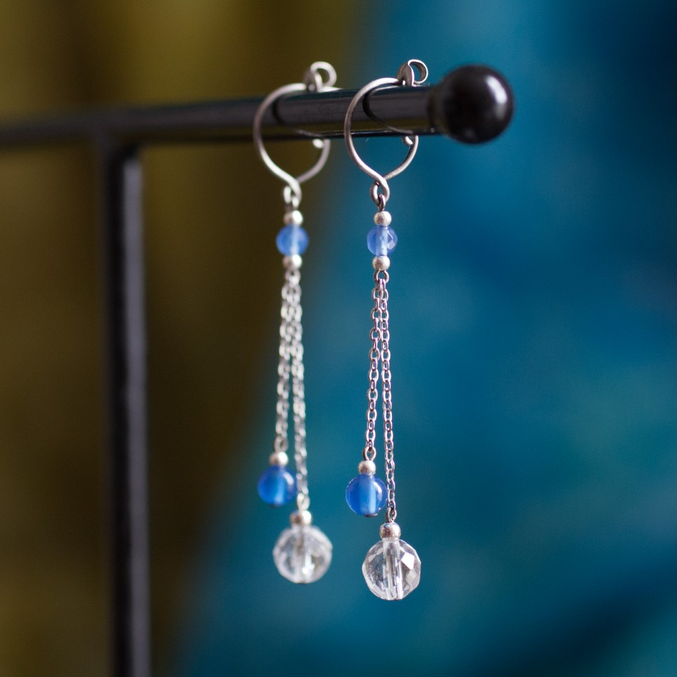 Pure titanium drop earrings with blue agate and rock crystal beads