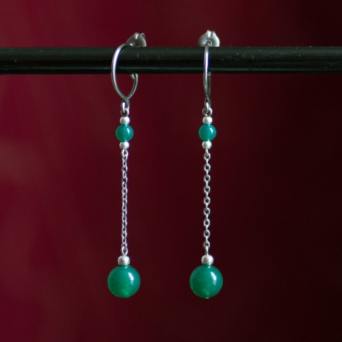 Pure titanium drop earrings with green agate beads - hypoallergenic earrings for sensitive ears, nickel free