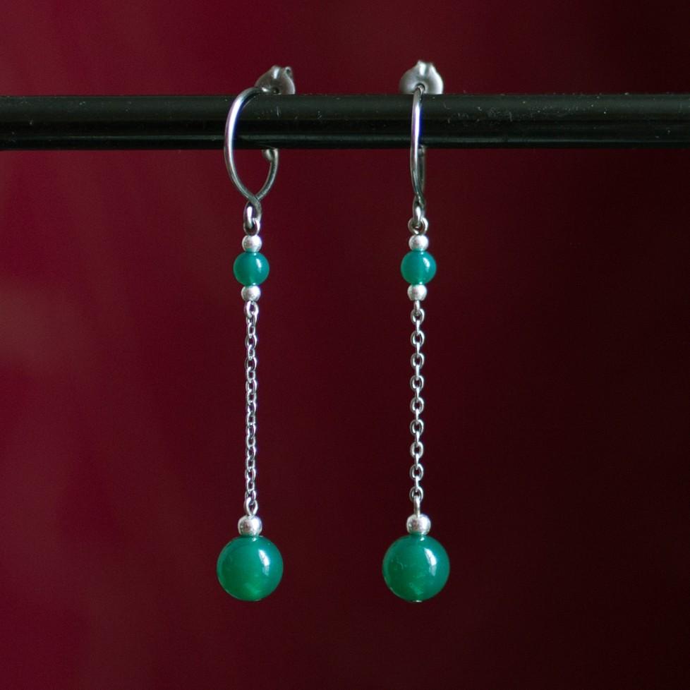 Boucles d'oreilles pendantes titane pur et perles d'agate verte - Boucles d'oreilles hypoallergéniques