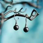 Boucles d'oreilles en titane et perles d'hématite