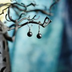 Pure titanium small drop earrings with hematite beads - for sensitive ears