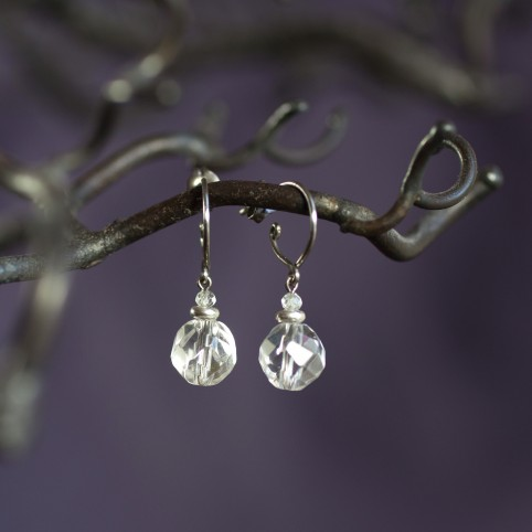 Small pure titanium drop earrings with rock crystal beads - for sensitive ears